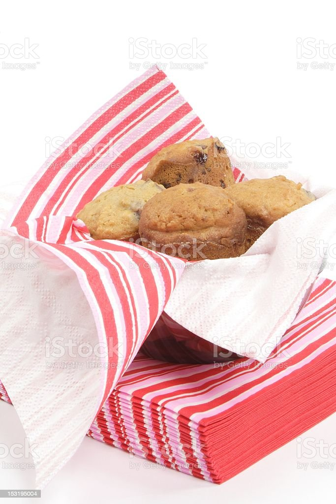 cherry muffins in pink napkin royalty-free stock photo