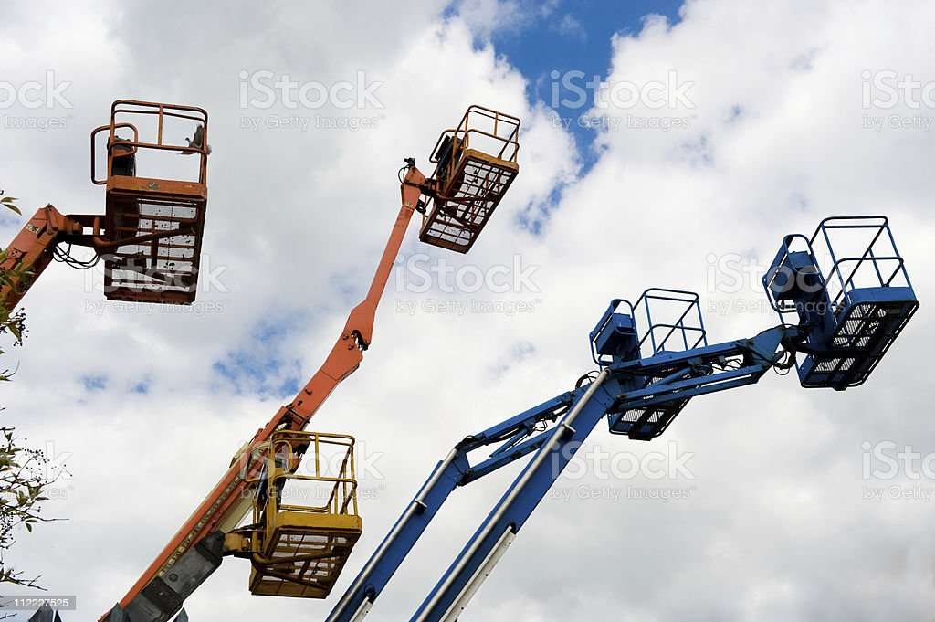 Cherry Pickers hydraulic platforms royalty-free stock photo