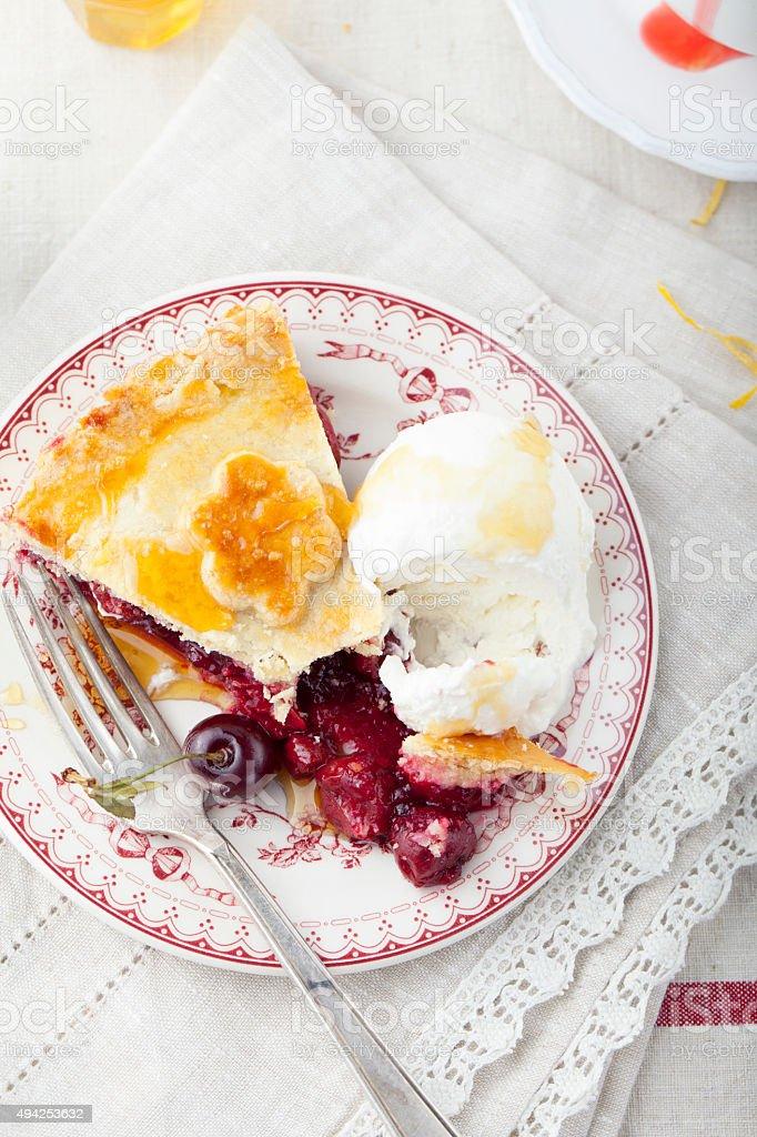 Cherry pie homemade on a white background stock photo