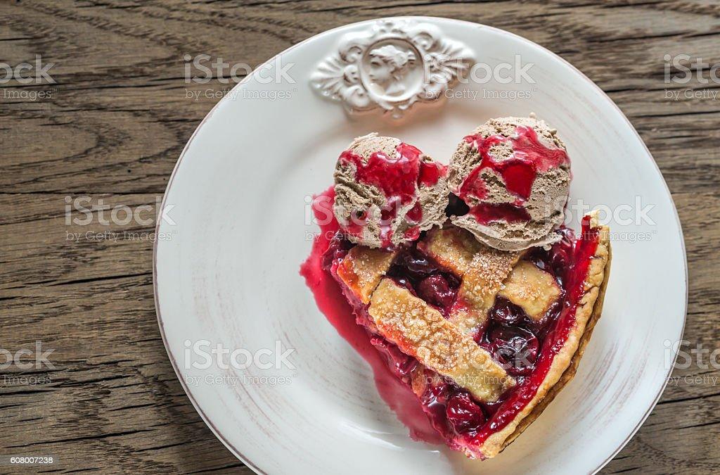 Cherry pie on the plate stock photo