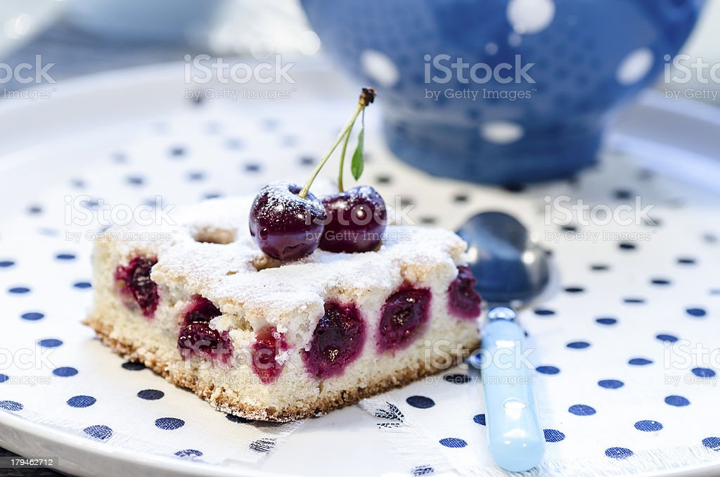 Cherry pie's bars served blue teespoon royalty-free stock photo