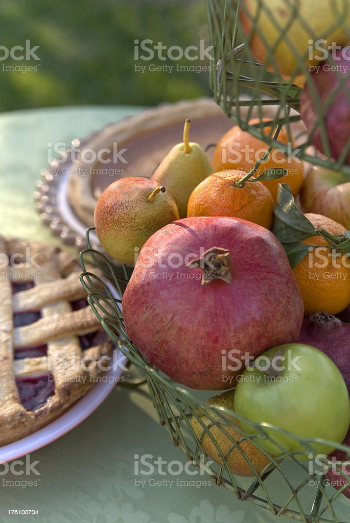 \'Holiday desserts; homemade cherry and pumpkin pie & basket of fresh...