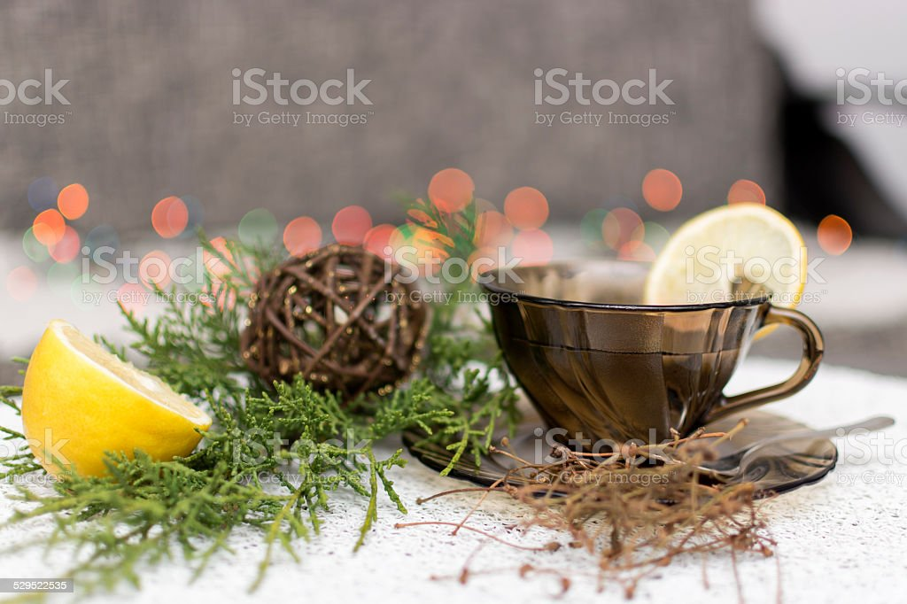 Cherry stems tea with lemon stock photo