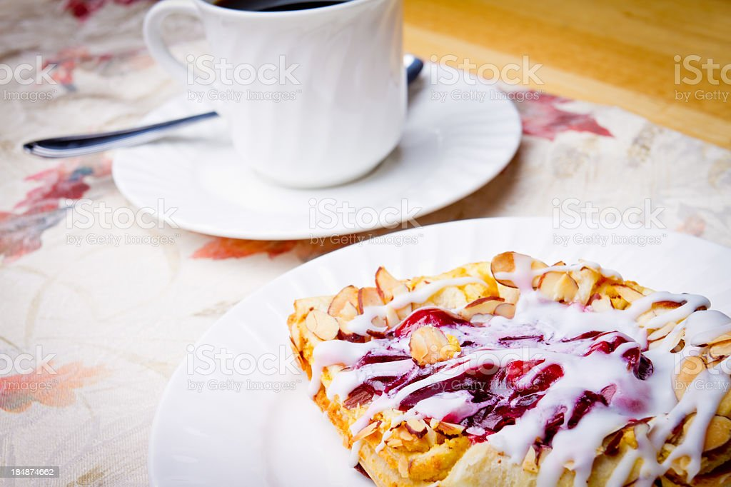 Cherry Strudel and Coffee royalty-free stock photo