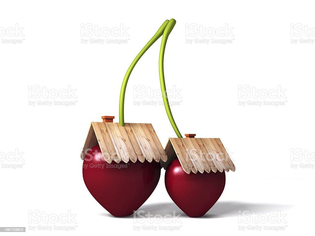 Cherry stylized house royalty-free stock photo