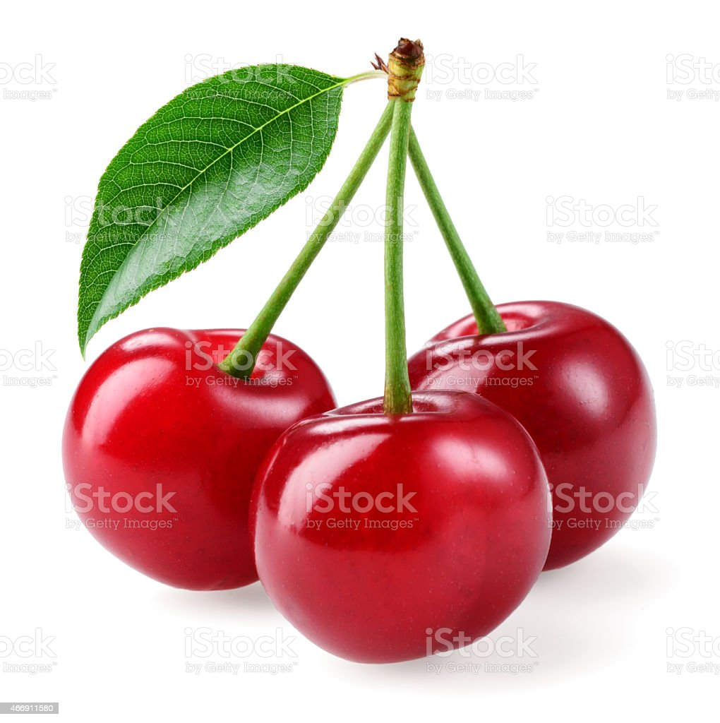 Cherry. Three berries isolated on white background stock photo