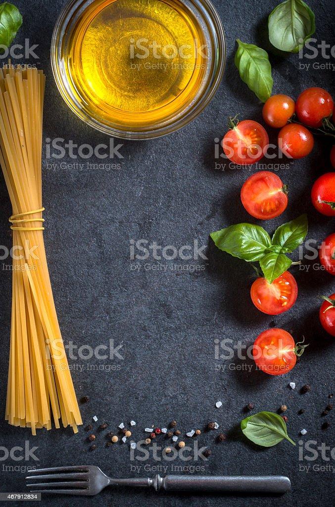 Cherry tomato and spaghetti stock photo