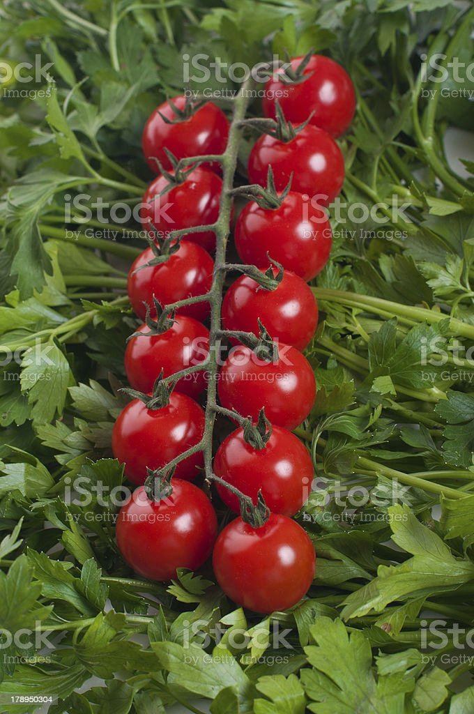 cherry tomato with green parsel royalty-free stock photo