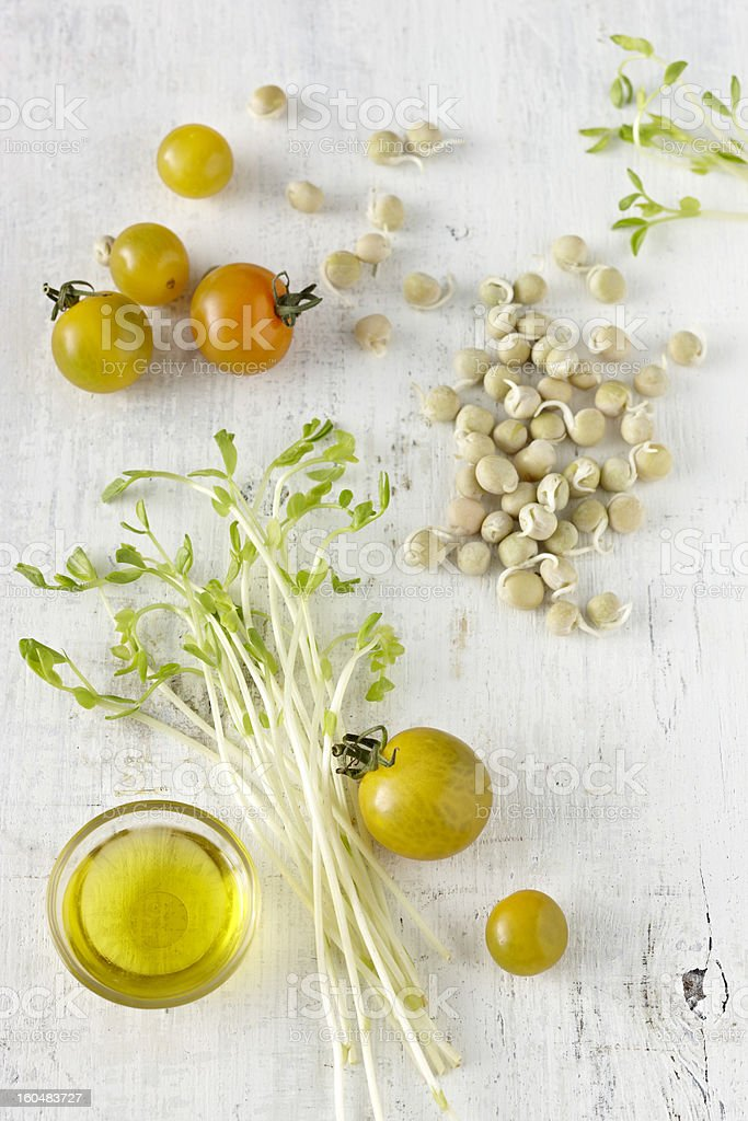 Cherry tomatoes and sprouts royalty-free stock photo