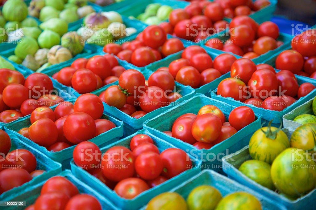 Cherry tomatoes at the farmer's market stock photo