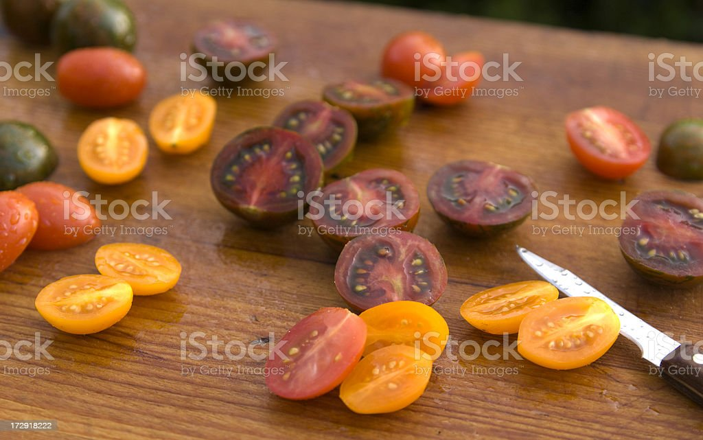 Cherry Tomatoes for Salad Preparation royalty-free stock photo