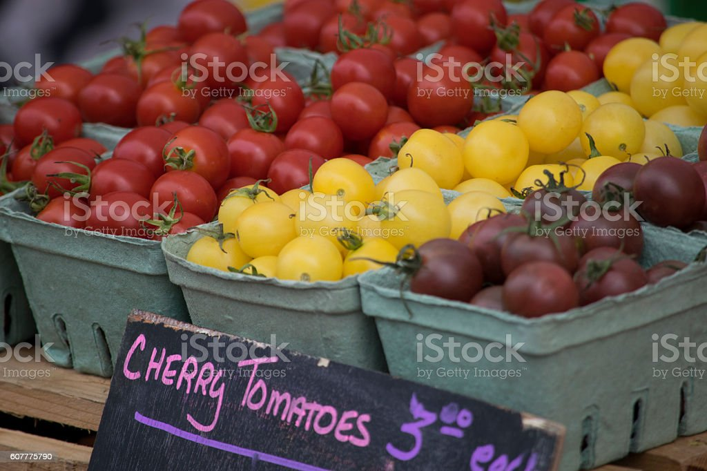 Cherry tomatoes for sale at the farmer's market stock photo