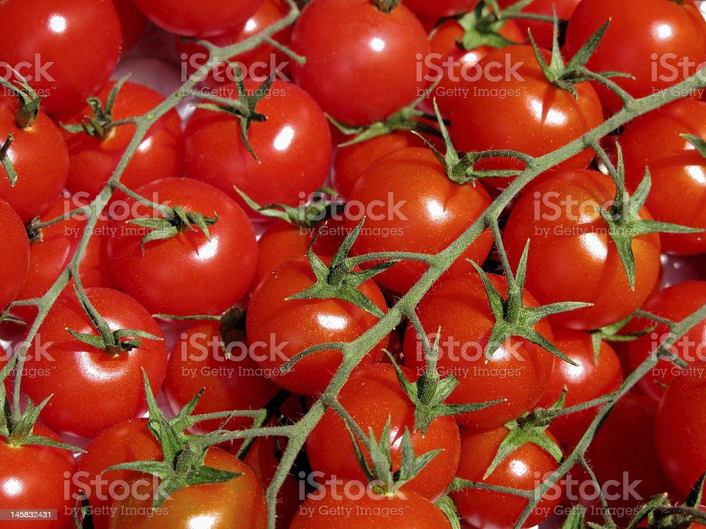 cherry tomatoes on a vine stock photo