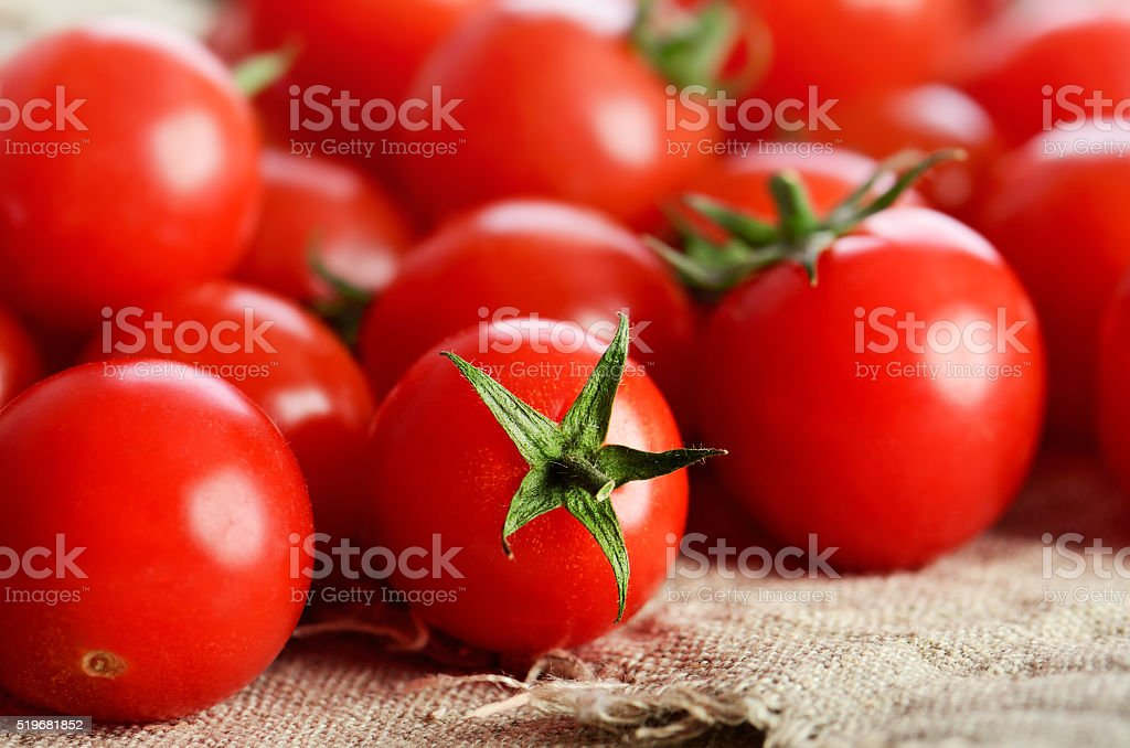 cherry tomatoes on the napkin close-up horizontal stock photo