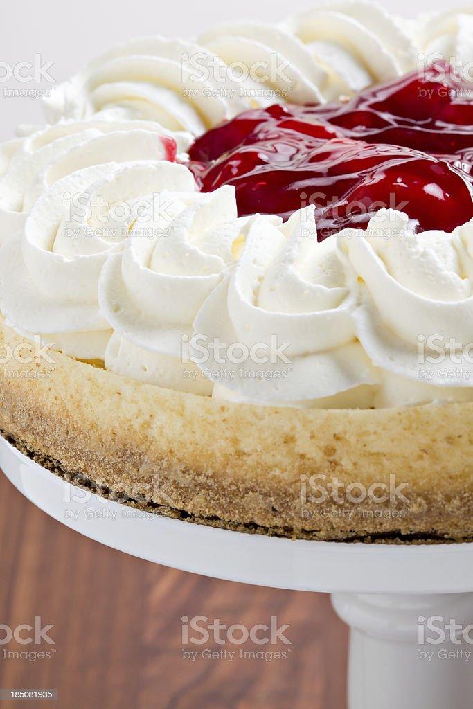 Cherry Topped Cheesecake On A Pedestal stock photo