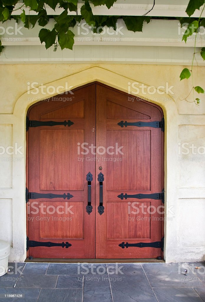 Cherry Wood Doors stock photo