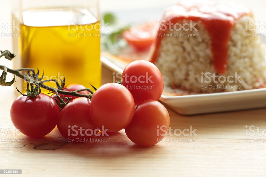 cherrys tomatoes on wooden background. stock photo