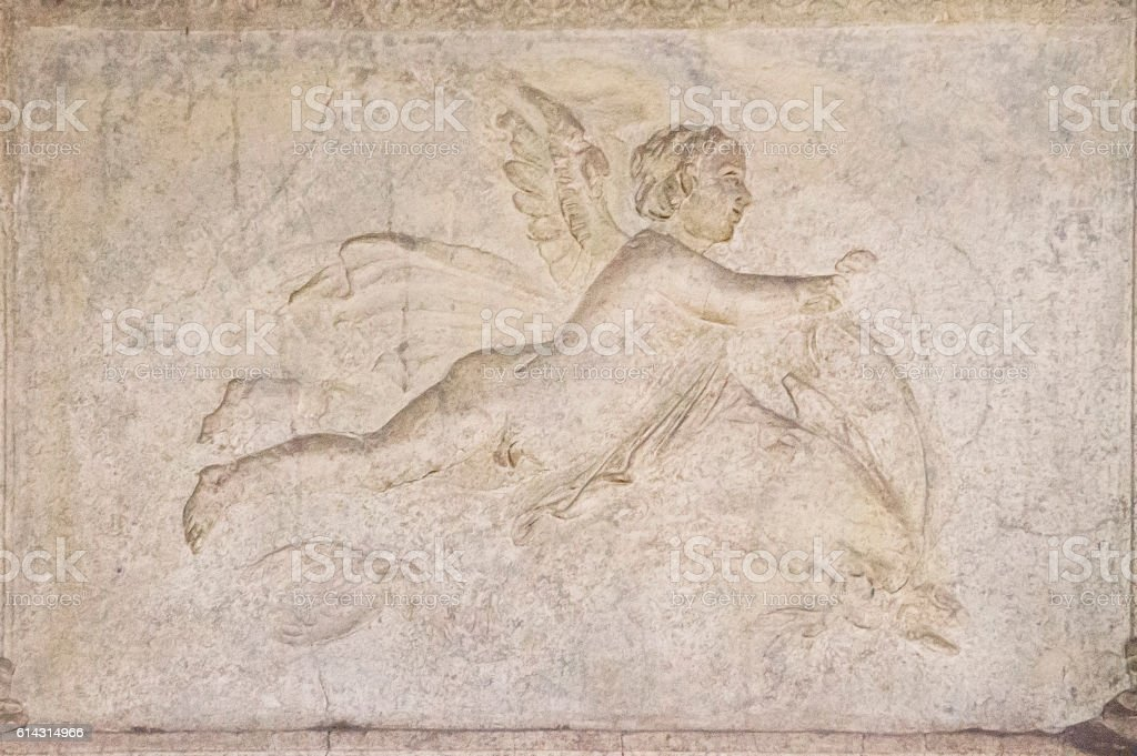 Cherub Figure on Wall of Stabian Baths at Pompeii, Italy stock photo