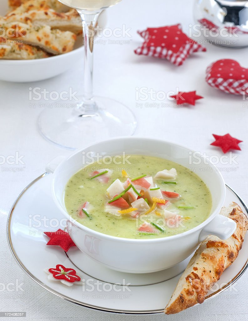 chervil soup with crab stock photo