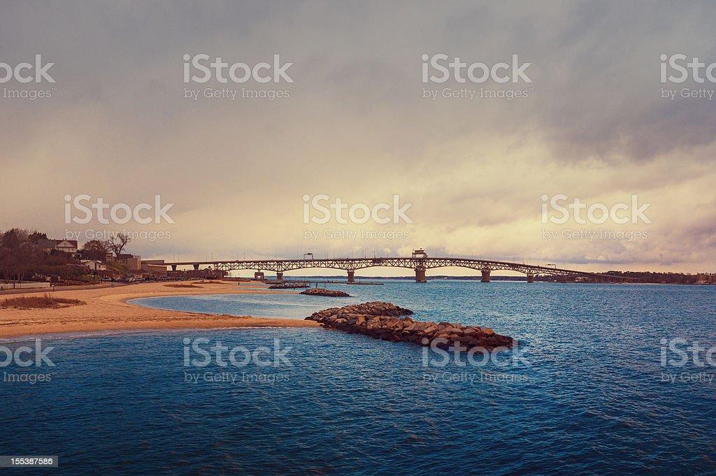 Chesapeake bay and bridge stock photo