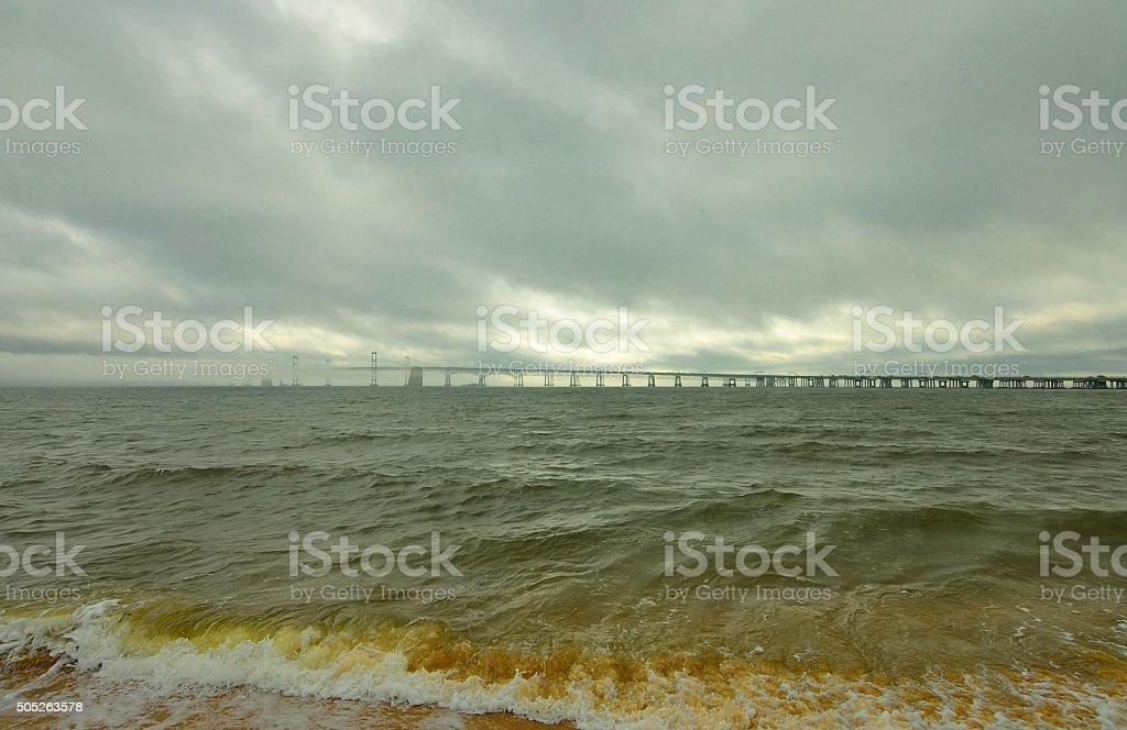 Chesapeake Bay Bridge After Storm stock photo