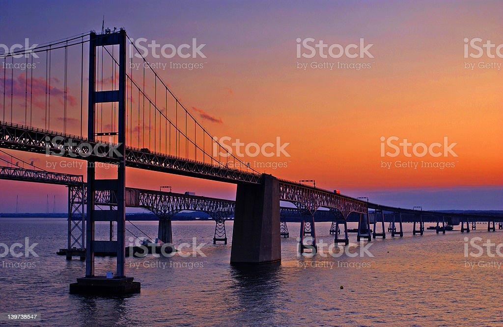 Chesapeake Bay Bridge at Dawn stock photo