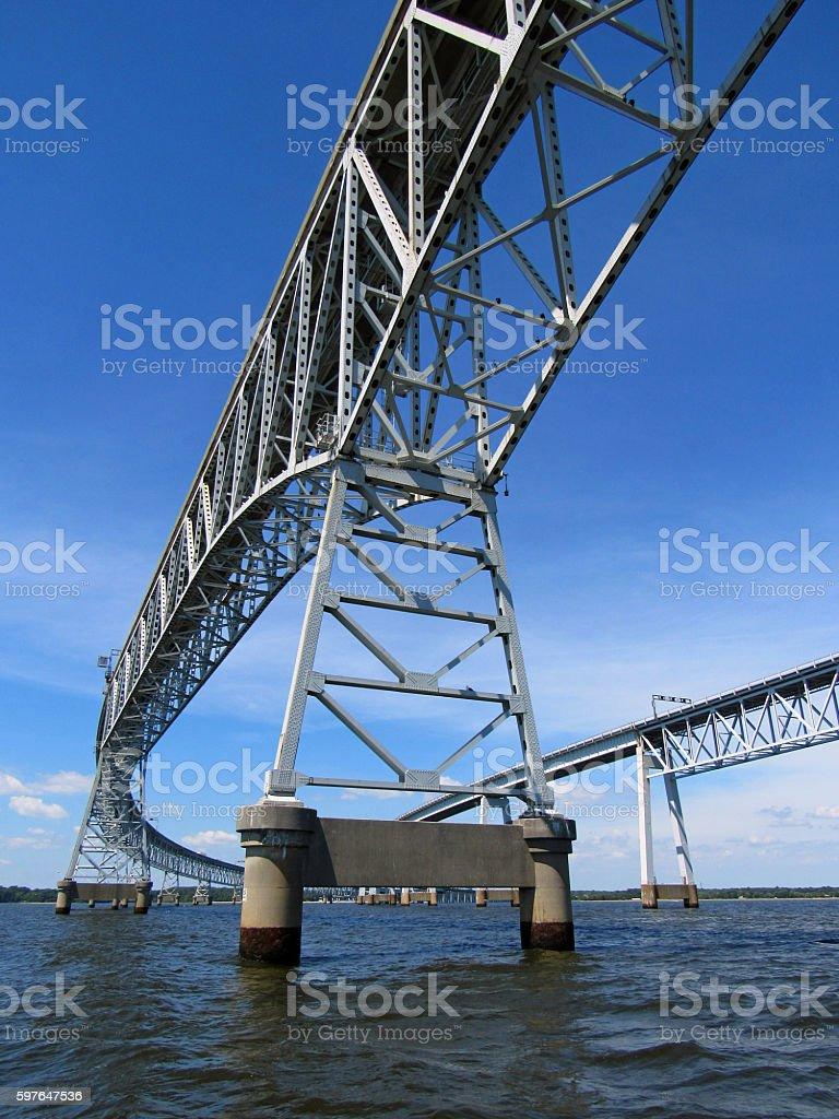 Chesapeake Bay Bridge View from the Water stock photo