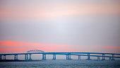Chesapeake bridge at sunset time.
