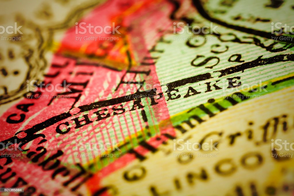 Chesapeake, West Virginia on an Antique map stock photo