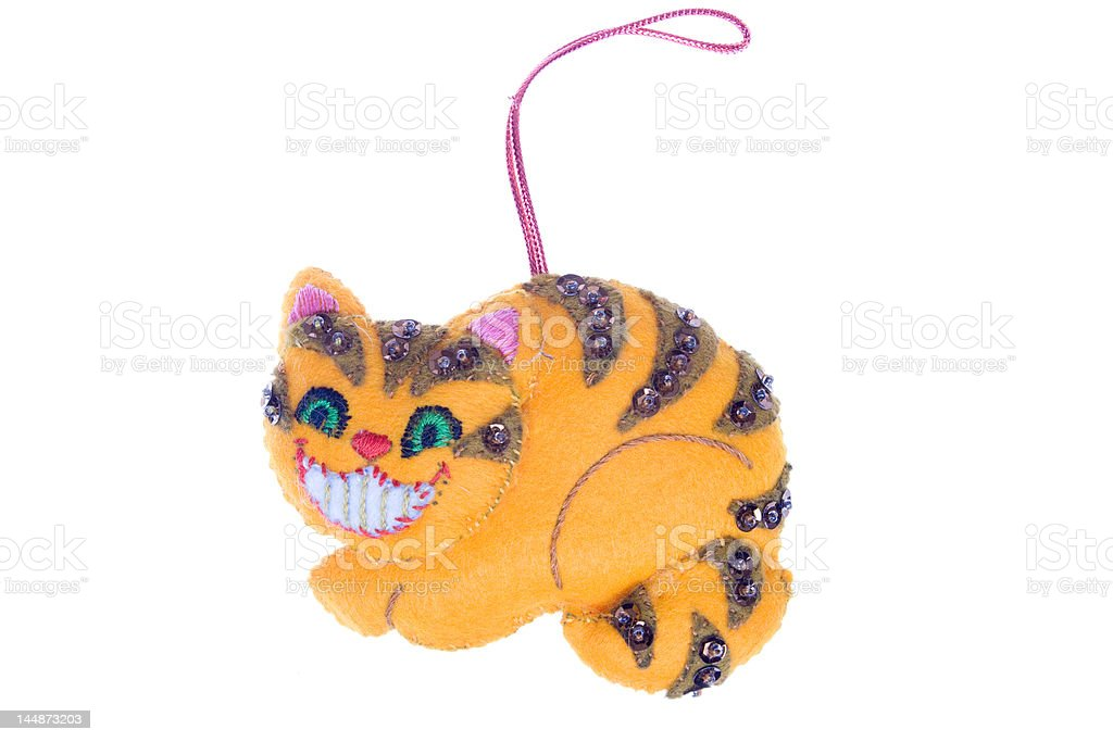 Cheshire Cat Smile Christmas Ornament Isolated on White Background royalty-free stock photo