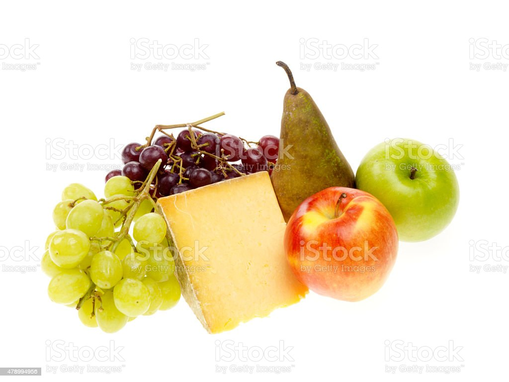 Cheshire Cheese with Fruit stock photo