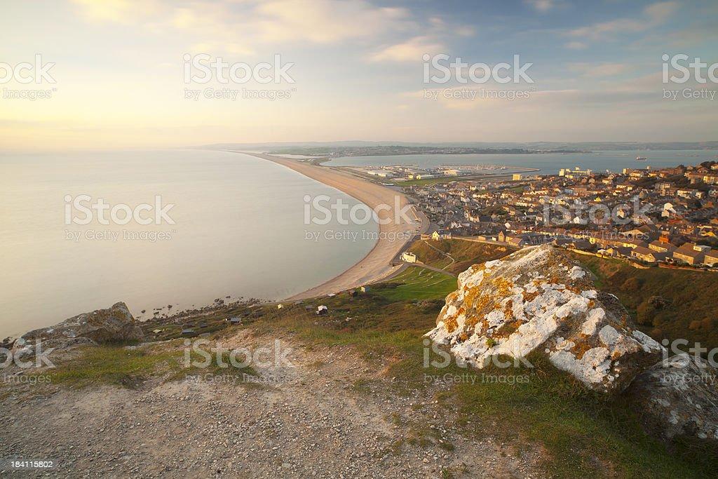 Chesil Beach and Weymouth stock photo