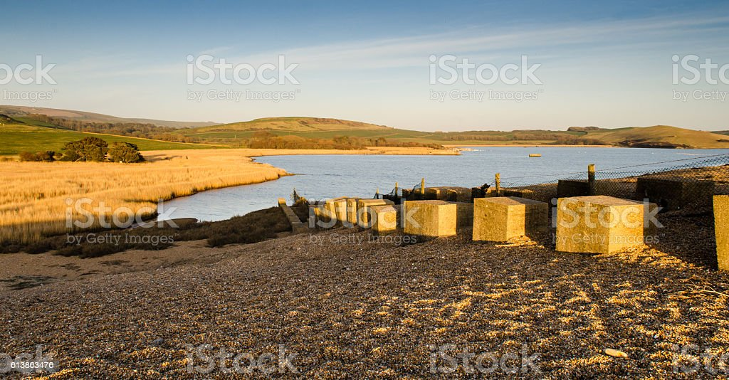 Chesil Beach at Abbotsbury stock photo