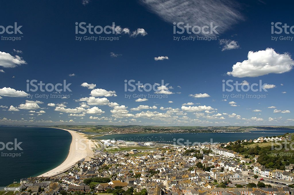 Chesil Beach, Castletown and Portland Harbour Dorset England stock photo
