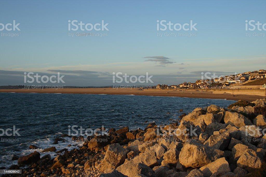 Chesil beach in Dorset England royalty-free stock photo