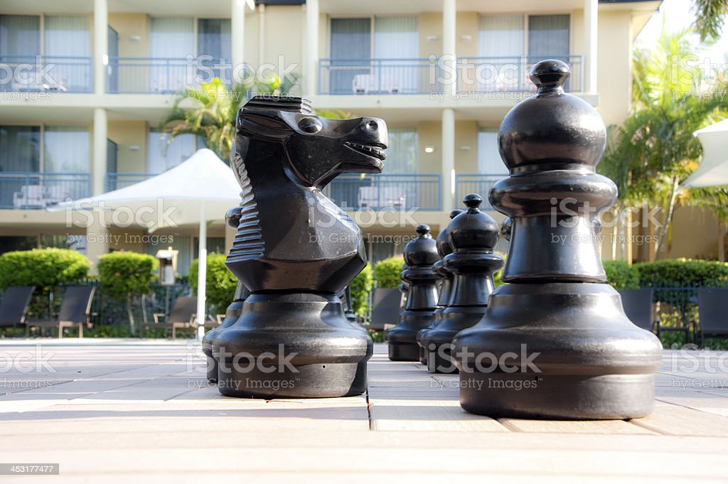 Chess at resort stock photo