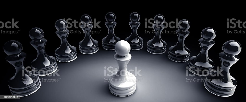 Chess background central figure - white pawn 3d illustration stock photo