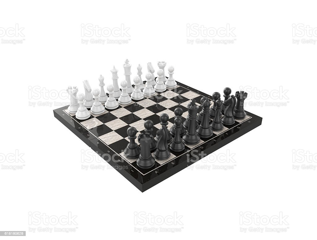 Chess battle on chessboard stock photo