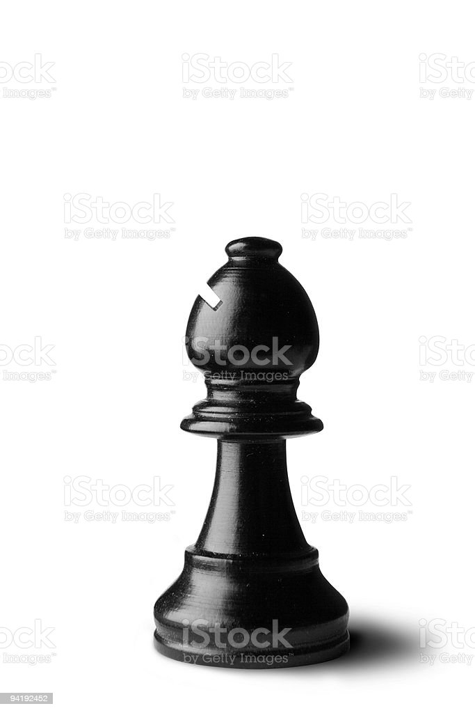 Chess: Bishop (Black) Isolated on White Background stock photo