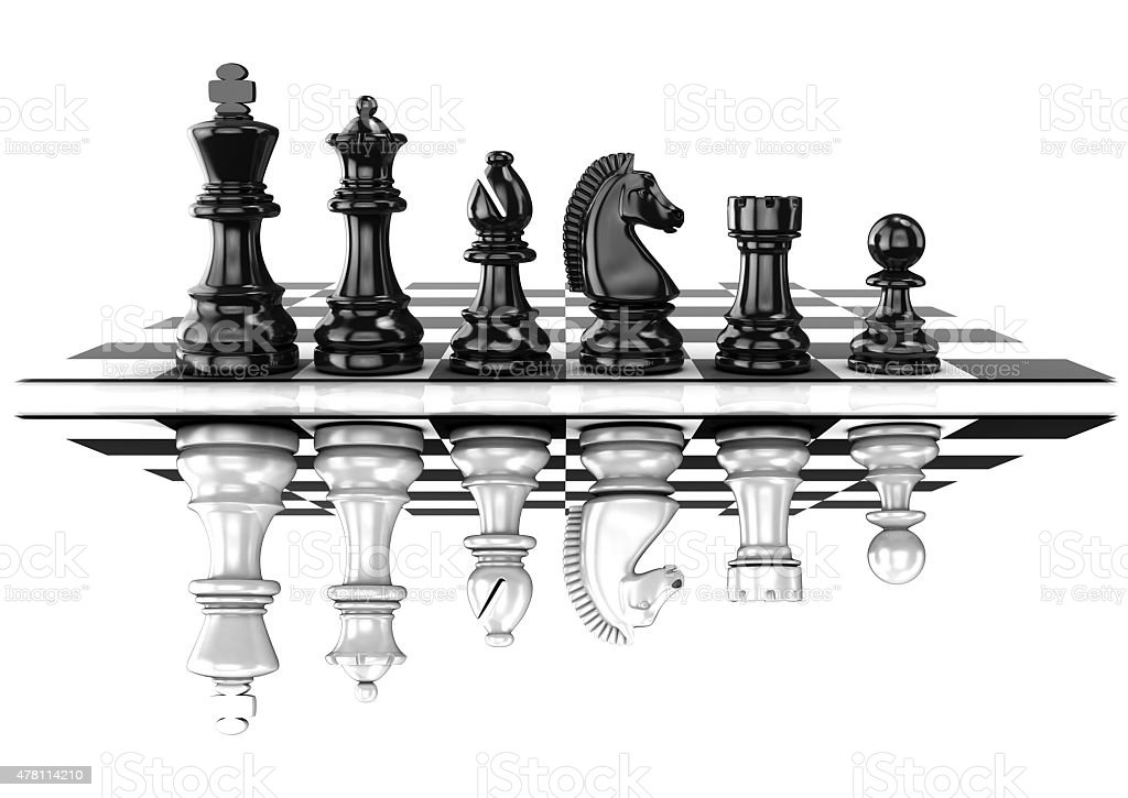 Chess black and white pieces, standing on board, mirrored stock photo