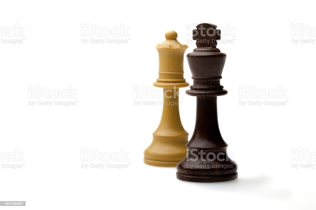 Chess: black king, white queen. royalty-free stock photo
