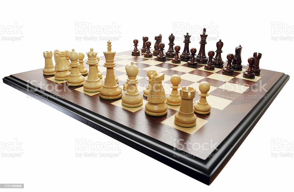 Chess board and pieces royalty-free stock photo