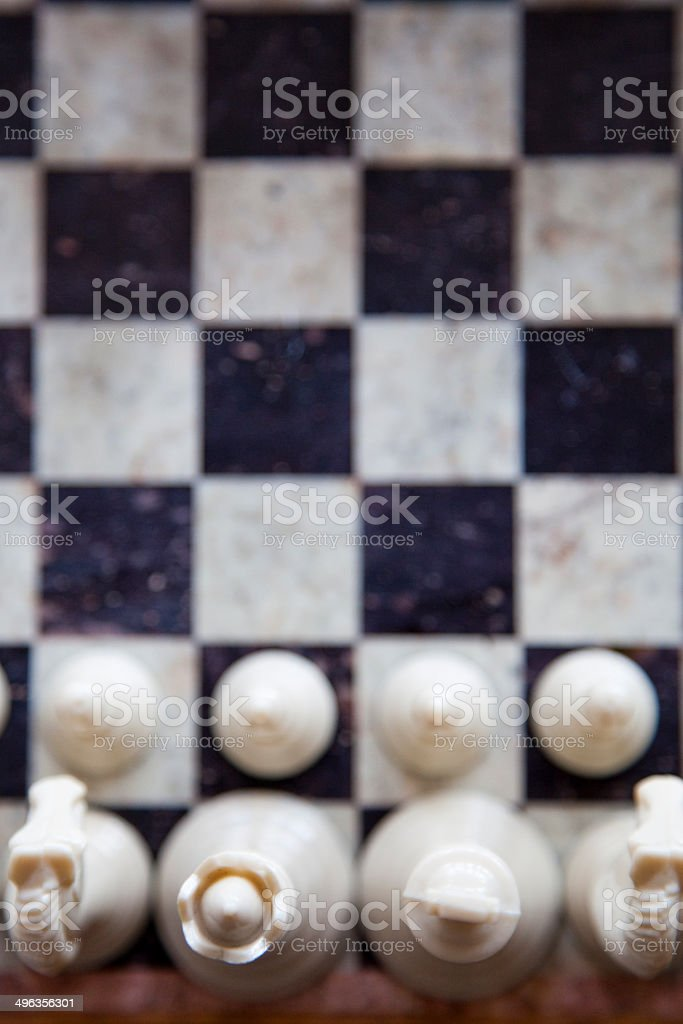 Chess board and pieces stock photo