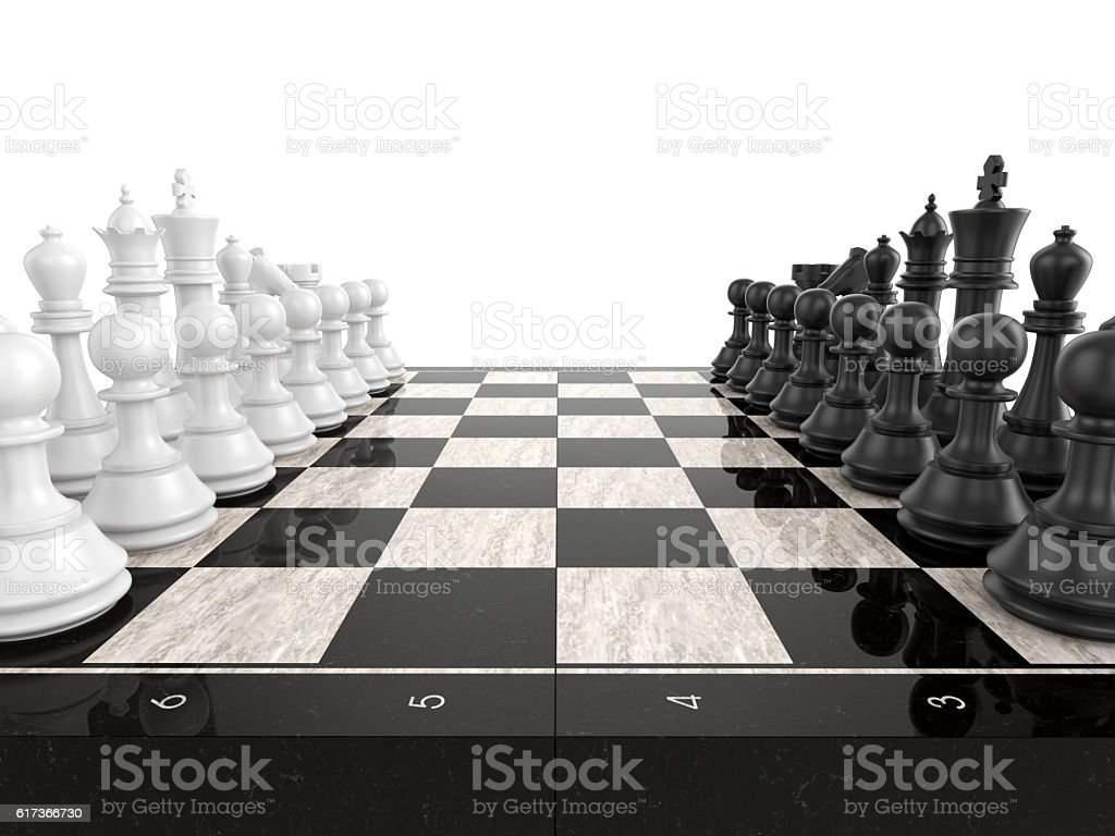 Chess board with chess pieces stock photo