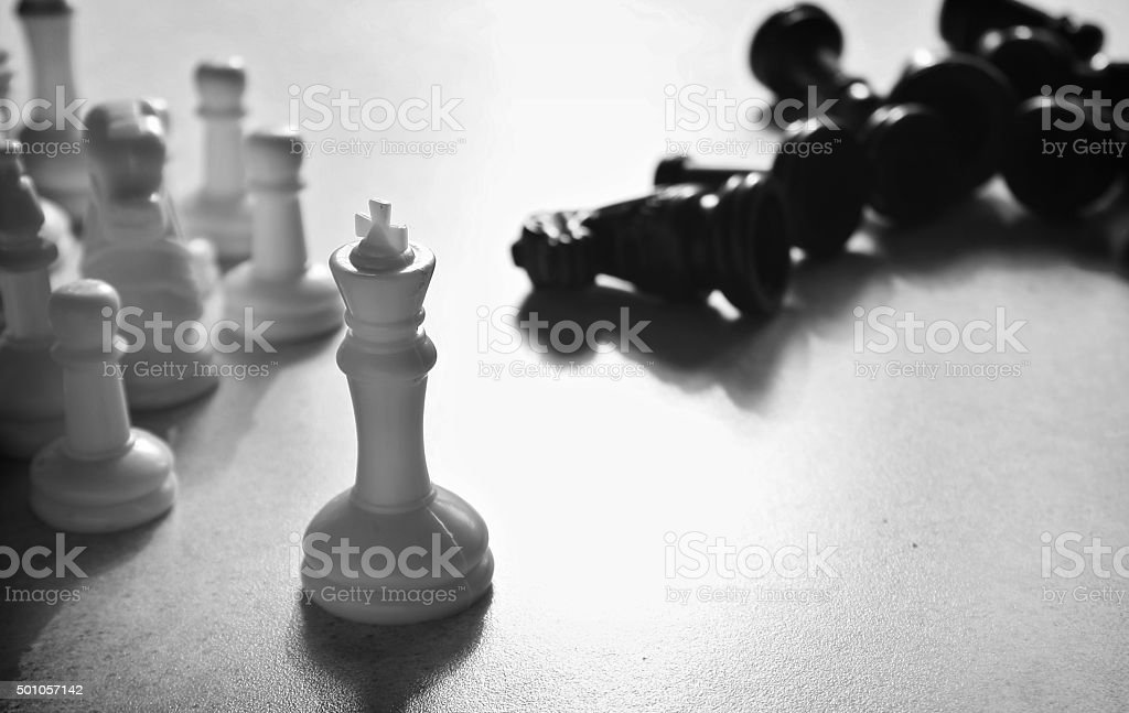 Chess concept in black and white stock photo