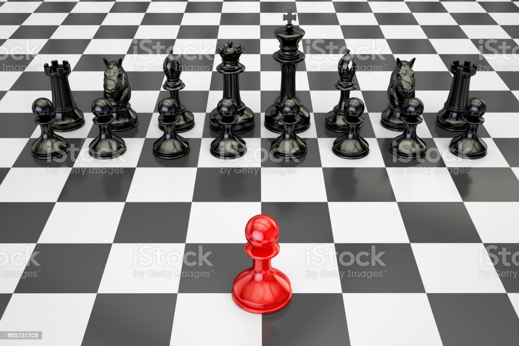 Chess, confrontation and opposition concept. 3D rendering stock photo