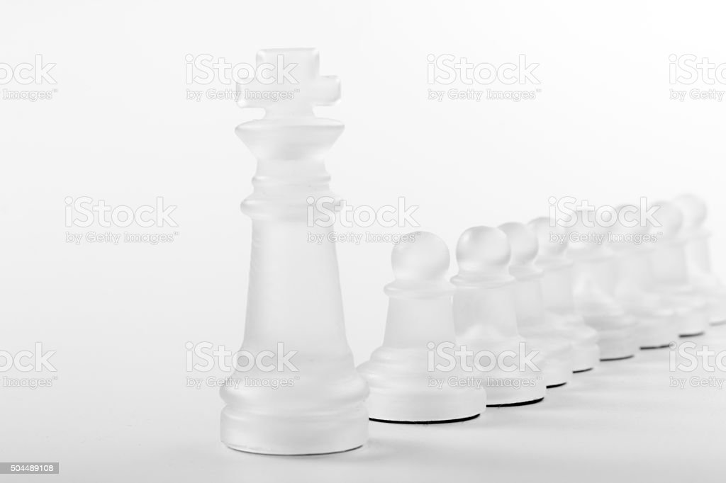 Chess face to face, first step. Copy space for text stock photo