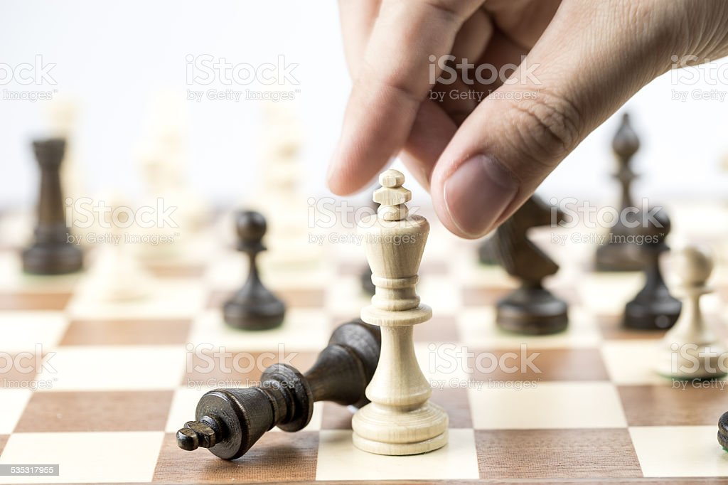 Chess figure, business concept strategy, leadership, team and success stock photo