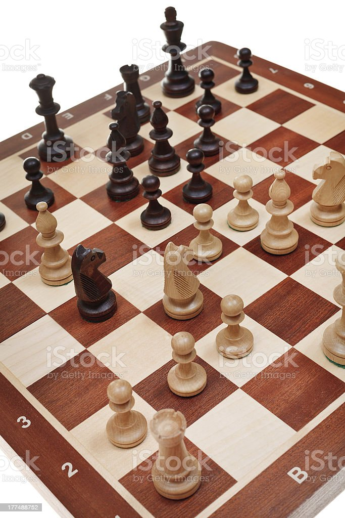 chess game on chessboard royalty-free stock photo