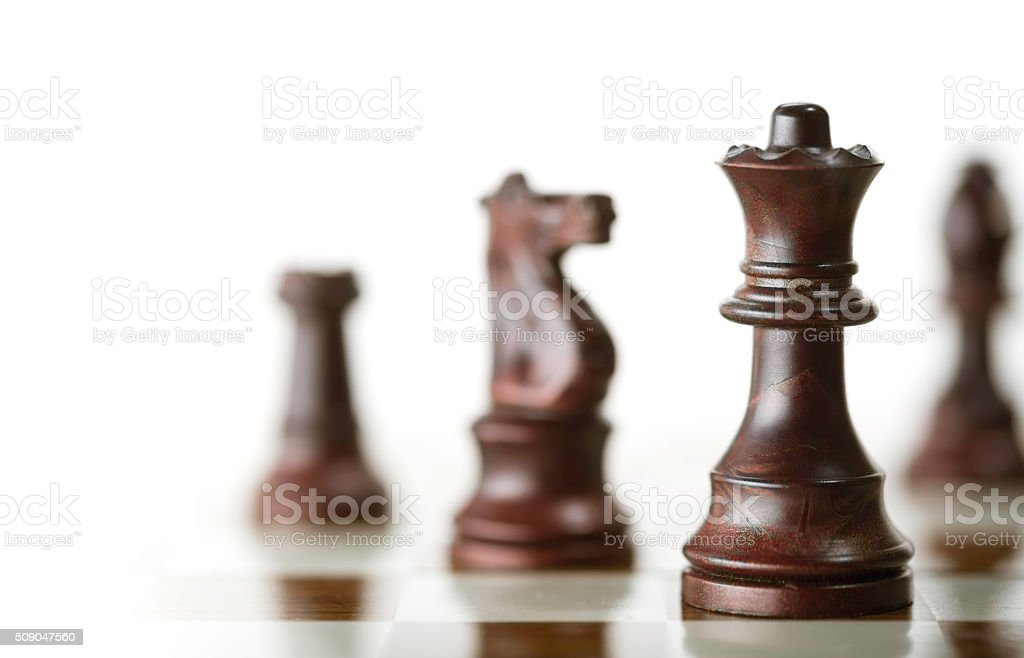 Chess Game over White Background stock photo